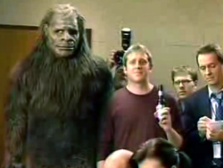 Steve mandich bigfoot on film coors light commercial 2007 one spot among many in dumb multi year ad campaign in which football fans ask questions at a fake press conferences mozeypictures